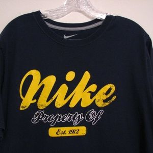 NIKE Navy Blue Mens L Standard Fit Crewneck T- Shi